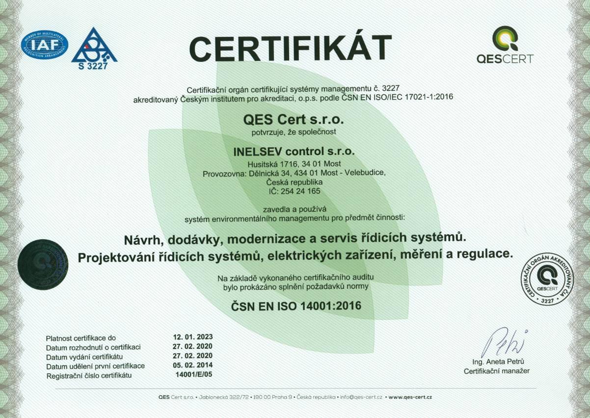 14001 Certifikát | INELSEV