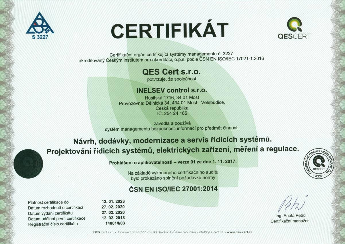 27001 Certifikát | INELSEV