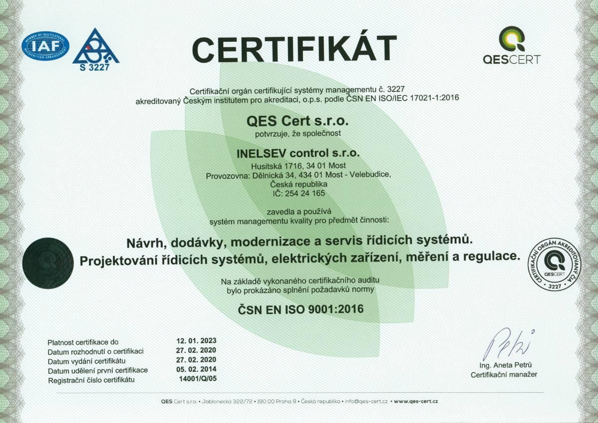 9001 Certifikát | INELSEV